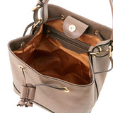 MINERVA Saffiano leather secchiello bag - Cognac