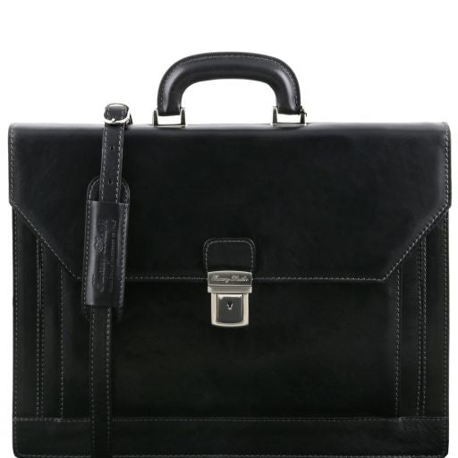 NAPOLI 2 compartments leather briefcase with front pocket - Black