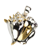 Sterling Silver Conch Shell Pendant with 18 Karat accents with Rhodium finnish