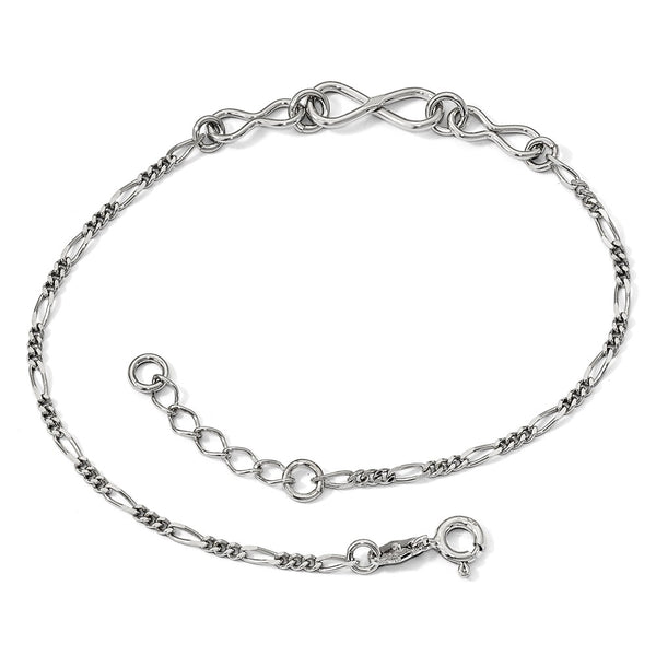 QLF837-9 Leslie's Sterling Silver Infinity w/ 1in ext.  Anklet