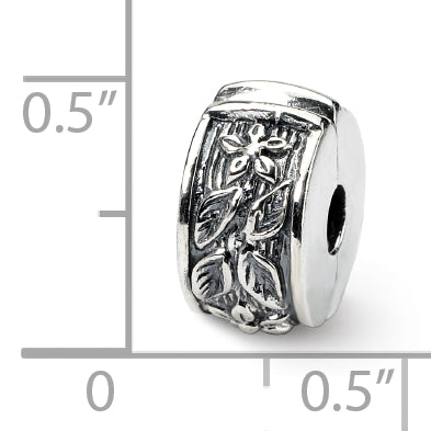 QRS111Sterling Silver Reflections Hinged Floral Clip Bead