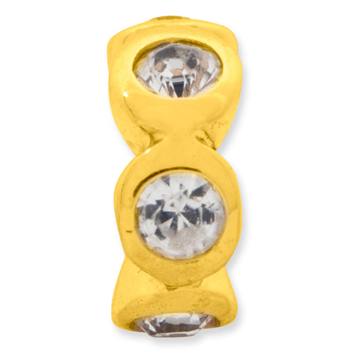 QRS1262GPAPR Sterling Silver Gold-plated Reflections April Swarovski Crystal Bead