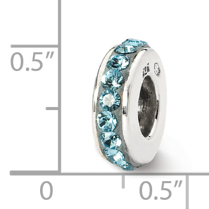QRS1264MAR Sterling Silver Reflections March Single Row Swarovski Crystal Bead