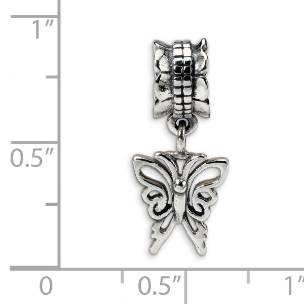 QRS1395 Sterling Silver Reflections Butterfly Dangle Bead