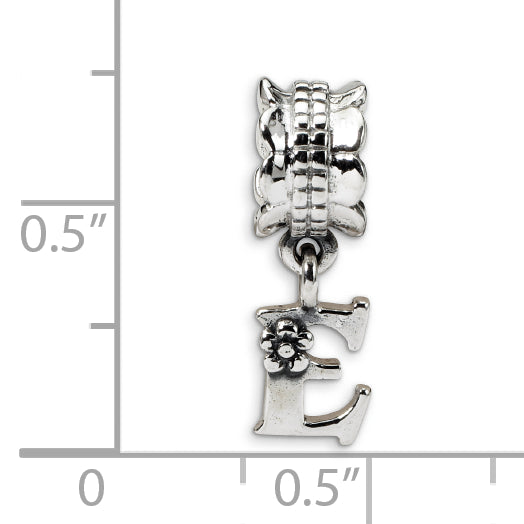 QRS1400E Sterling Silver Reflections Letter E Dangle Bead