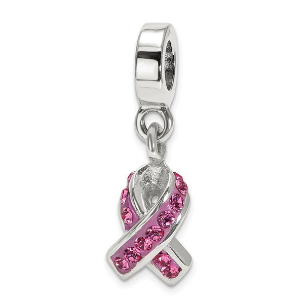 QRS1862 Sterling Silver Reflections Swarovski Crystal Awareness Dangle Bead