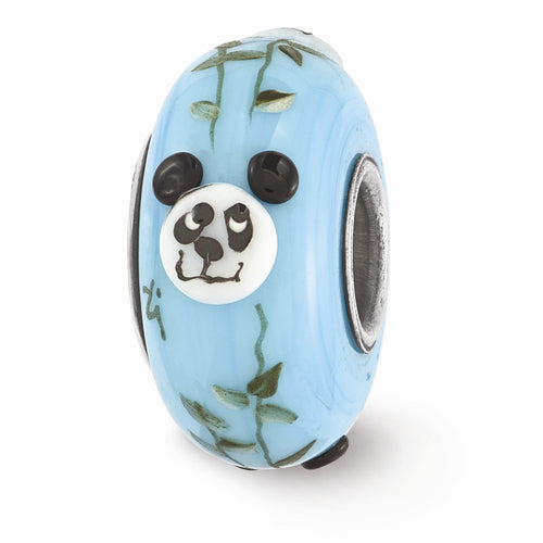 QRS3582 Ster.Silver Reflections Blue Hand Painted Panda Fenton Glass Bead