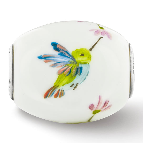 QRS3643 Ster.Silver Reflections Hand Painted Hummingbird Fenton Glass Bead