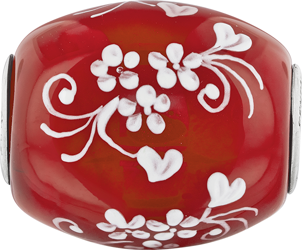 QRS3650 Ster.Silver Reflections Red Hand Painted Floral Hearts Fenton Glass Bead