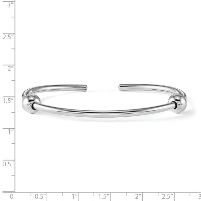 QRS3743 Sterling Silver Reflections Polished Includes 2 Stopper Beads Bangle
