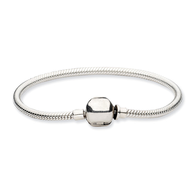 QRS985-8.5 Sterling Silver Reflections Hinged Clasp Bead Bracelet