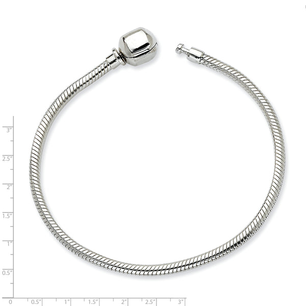 QRS985-7 Sterling Silver Reflections Hinged Clasp Bead Bracelet