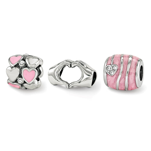 QRSET138 Sterling Silver Reflections Hearts of Love Boxed Bead Set