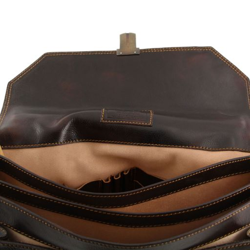 ROMA Leather briefcase 3 compartments - Black