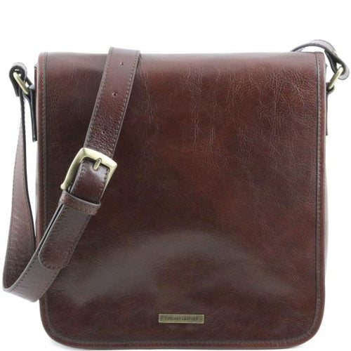 TL Messenger - One compartment leather shoulder bag - Brown TL141260
