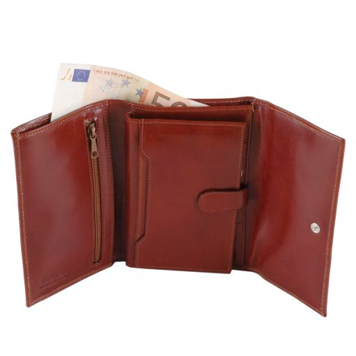 Exclusive leather wallet for women - Honey