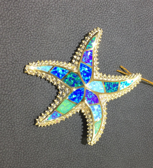 Blue/Green Opal Inlay Starfish Pendant