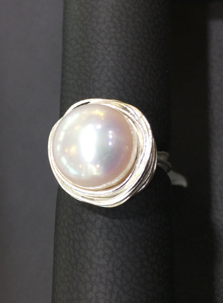Large Round Fresh Water Pearl Ring