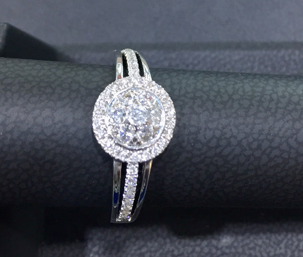 White Diamond Full Moon Ring