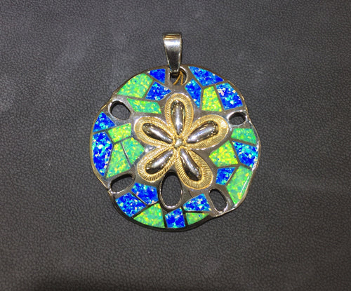 Blue/Green Opal Inlay Sand Dollar Pendant