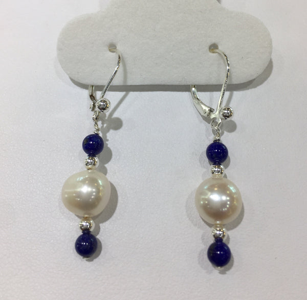 Lapis Lazuli/Fresh Water Pearl Sterling Silver Earrings