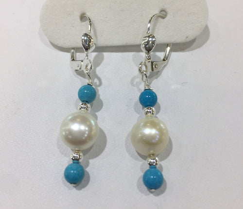 Aquamarine/Fresh Water Pearl Beaded Earrings