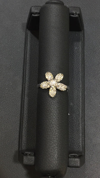 Champagne Diamond Flower Ring