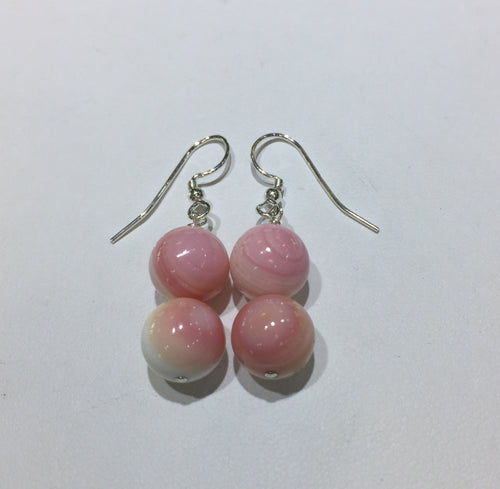 Pink Queen Conch Shell Bead Earrings