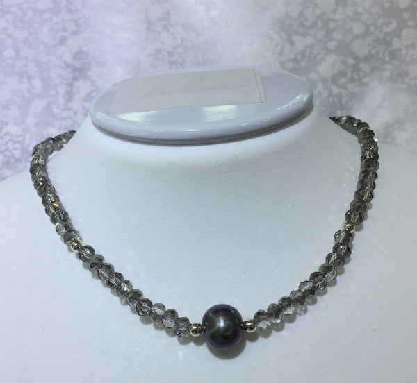 Crystal Sterling Silver Bead Necklace