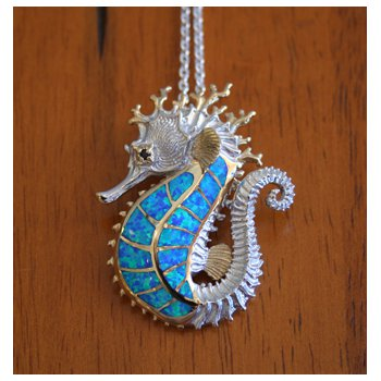 large sea Horse Opal Inlay Pendant