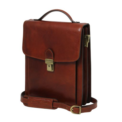 David Leather Crossbody Bag - large size Brown