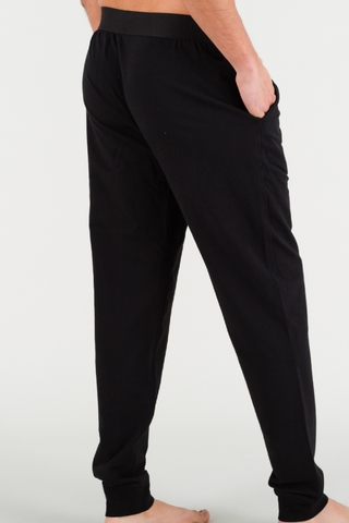 Black Lounge Pants in Pima Cotton