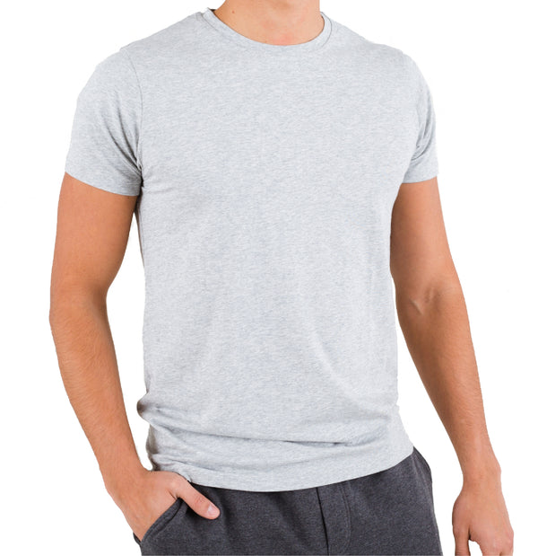 Light Heather Crew Under Tee in Pima Cotton
