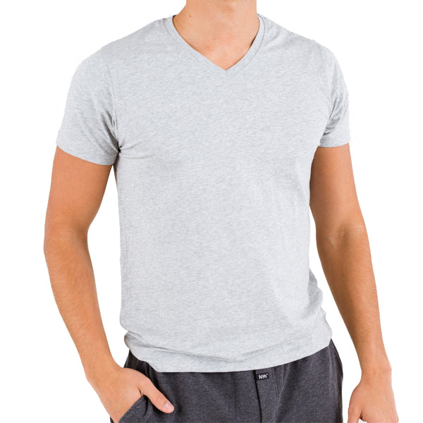 Light Heather V-neck Under Tee in Pima Cotton