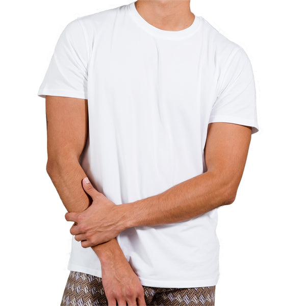 White Crew Under Tee in Pima Cotton