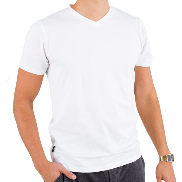 White V-neck Under Tee in Pima Cotton