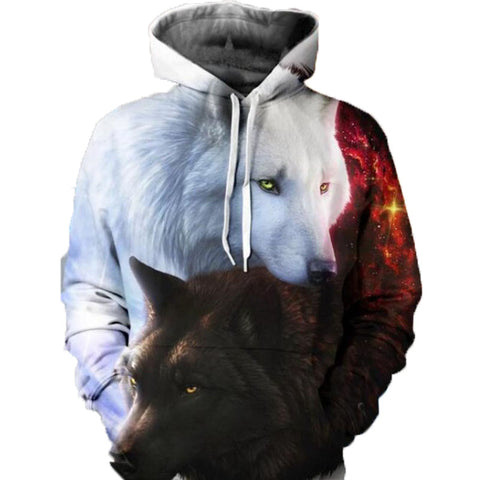 YIN YANG FIRE ICE WOLVES UNISEX HOODIE - Wolrdiscounts