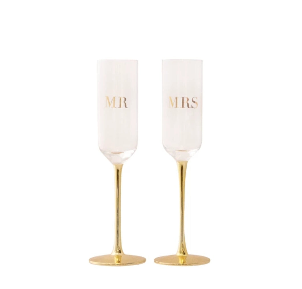 Cristina Re crystal champagne flutes (Mr and Mrs)