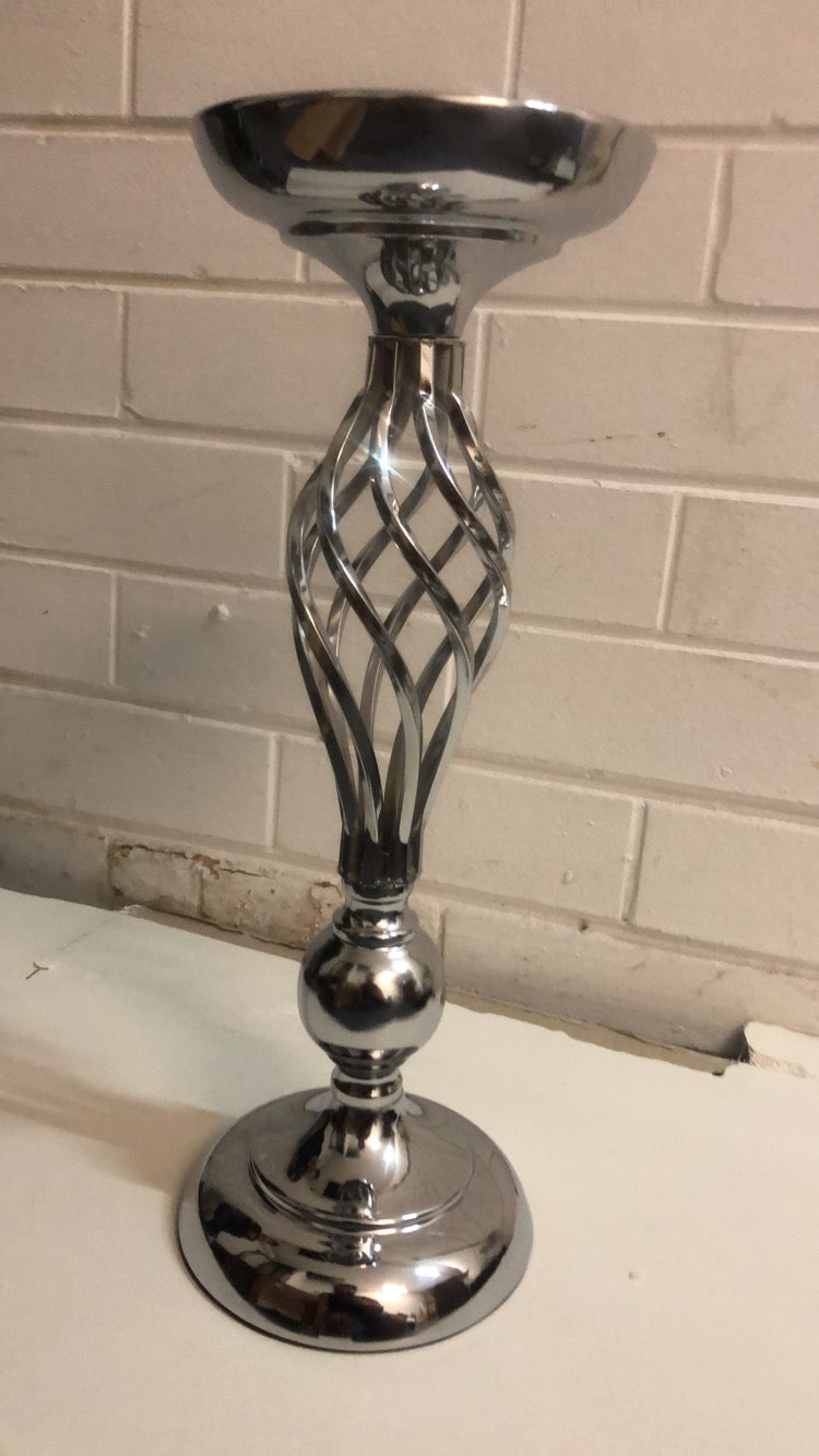Silver twisted stem candle holder