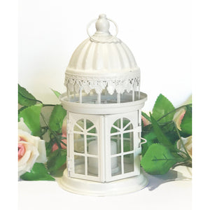 Cream round metal lantern with glass sides 23 cm