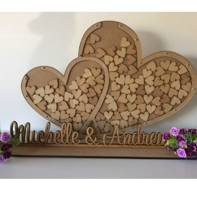 PERSONALISED DOUBLE HEART DROP BOX WITH NAME SET-GUEST BOOK ALTERNATIVE |