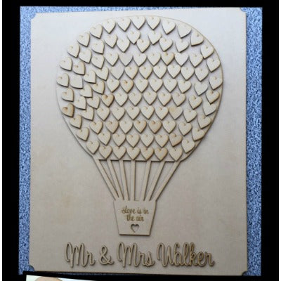 HOT AIR BALLOON WITH HEARTS-GUEST BOOK ALTERNATIVE PERSONALISED