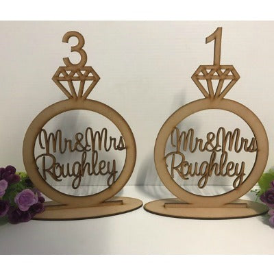 PERSONALISED WEDDING RING TABLE NUMBERS