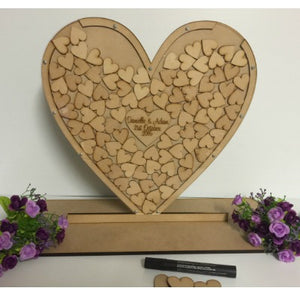 SINGLE HEART DROP BOX ON STAND WITH ENGRAVING OR PHOTO CENTRE