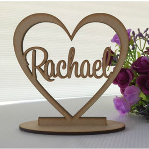 Personalised single heart place cards