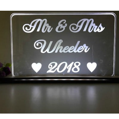 PERSONALISED LIGHT UP MR & MRS LED SIGN