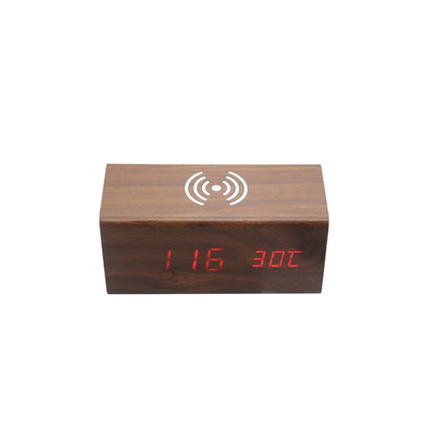 Qi Wireless Charger Dock LED Wooden Electric Alarm Clock
