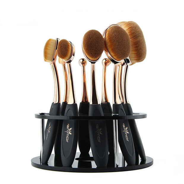 10 PIECE OVAL BRUSH SET - Oval Makeup Brush Set (10-piece) - PropelGear