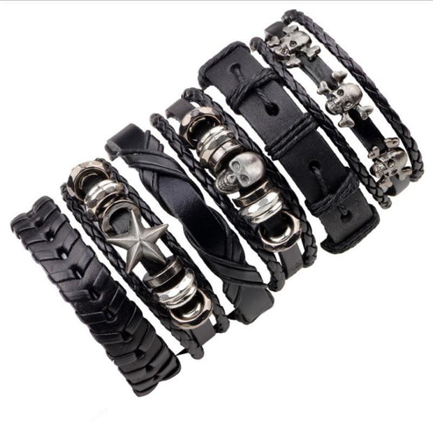 6PCS/SET BLACK WRISTBAND GENUINE LEATHER CHARM BRACELET MEN JEWELRY PUNK WRAP BRAIDED LEATHER BRACELET - PropelGear