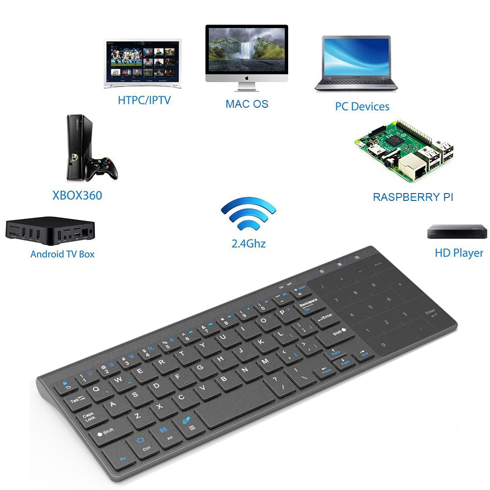 LIGHTWEIGHT & PORTABLE 2.4GHZ USB WIRELESS MINI KEYBOARD WITH TOUCHPAD - PropelGear